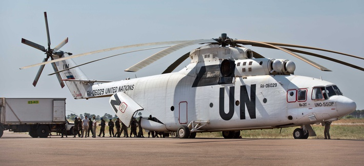 A U.N. helicopter unloading supplies in a camp  in South Sudan