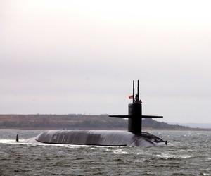 The USS Florida, an Ohio-class submarine, departing Naval Submarine Base Kings Bay