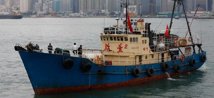 A fishing boat in Hong Kong heading towards the Spratly Islands in the South China Sea