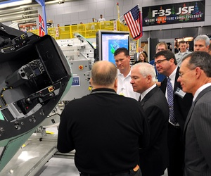 Former Defense Secretary Robert Gates touring an F-35 plant in Fort Worth, Texas