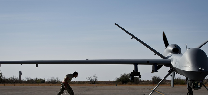 A MQ-9 Reaper taxis in at Holloman Air Force Base, N.M., April 24, 2013.