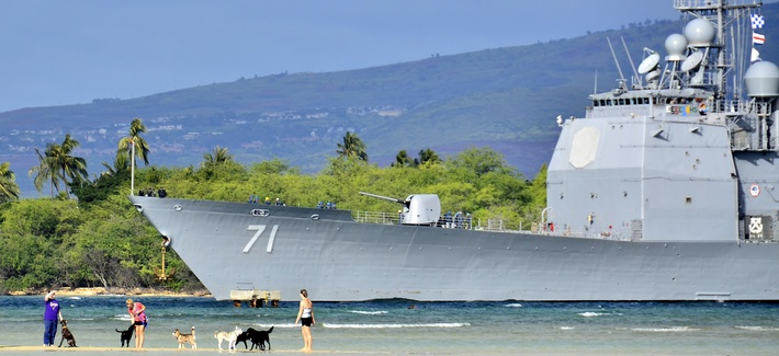 The Aegis cruiser USS Cape St. George (CG 71) returns to Pear Harbor, Hi., Jan. 25, 2014.