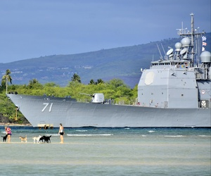 The Aegis cruiser USS Cape St. George (CG 71) returns to Pear Harbor, Hi., Jan. 25, 2014.