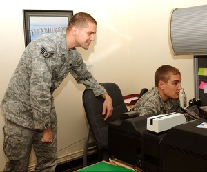 Two airmen processing CACs at RAF Mildenhall
