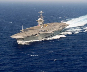 The USS Harry S Truman doing sea trials in the Atlantic Ocean. The ship has spent more time operating outside of the Persian Gulf over the past several months, according to a new report