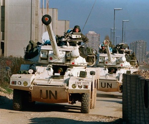 French troops riding in U.N armored vehicles in Sarajevo, Bosnia