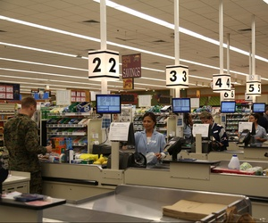 Troops shopping at a commissary at Marine Corps Air Station New River