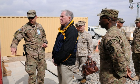 Undersecretary of Defense for acquisition, technology, and logistics Frank Kendall during a visit to Afghanistan
