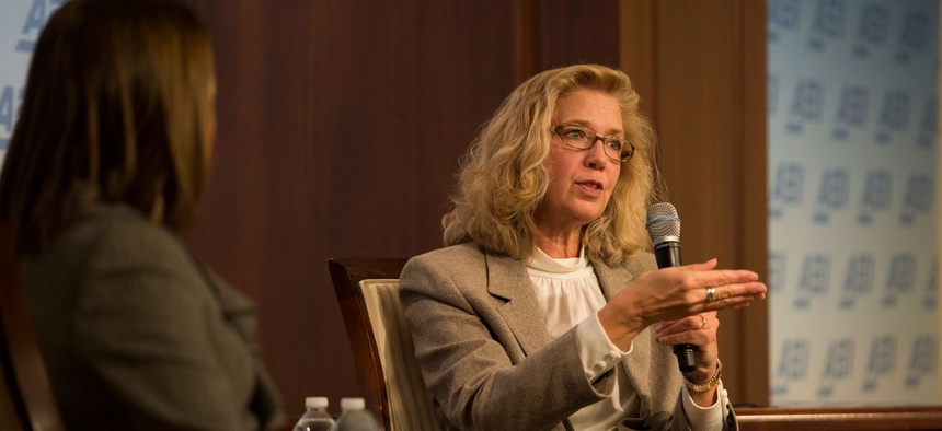 Acting deputy secretary of defense Christine Fox speaking at an event at the American Enterprise Institute