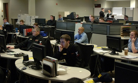 Sailors working at the Navy Cyber Defense Operations Command