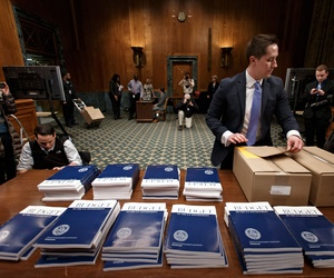 Copies of the President's fiscal year 2015 budget request in the Senate Budget Committee