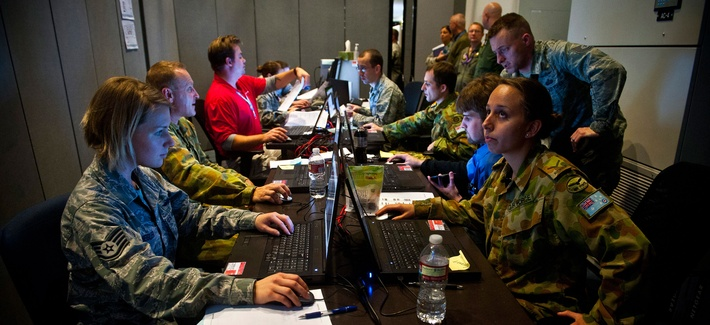 A cyber protection team at work at Combined Air and Space Operations Center, Nellis Air Force Base, during the Red Flag 14-1 exercise