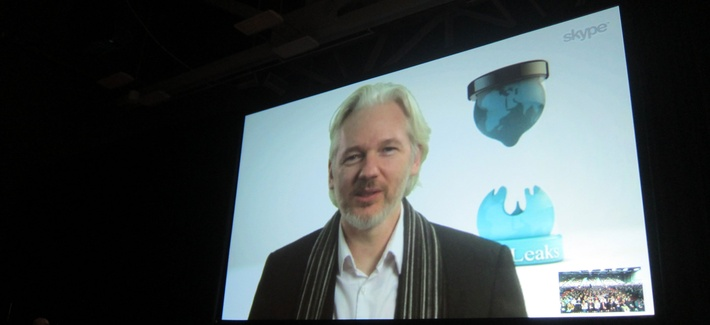 Julian Assange, speaking at SXSW on Saturday, March 8