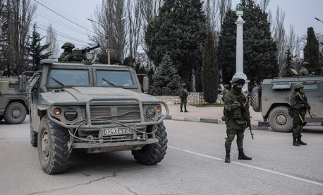 Unmarked troops standing in Balaklava, in Sevastopol, Ukraine