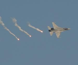 A Polish Air Force F-16 fighter jet at a 2011 air show in Radom, Poland.