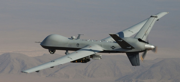 The MQ-9 Reaper Drone in flight during a mission in Afghanistan