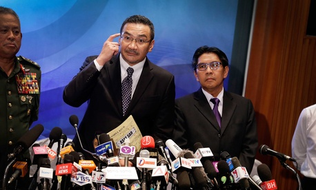 Malaysia's Minister of Transport, Hishamuddin Hussein, during a press conference in Kuala Lumpur