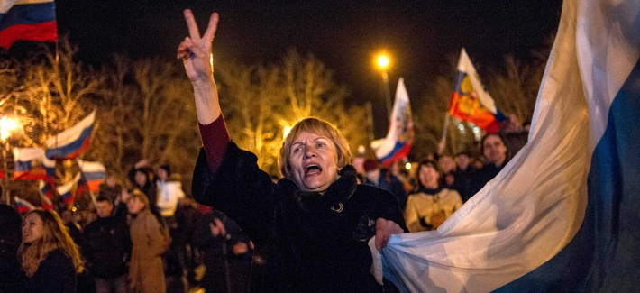 A Sevastopol resident celebrating the recent Crimean referendum to secede from Ukraine