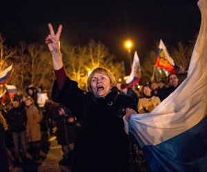 A Sevastopol resident celebrating the recent Crimean referendum to secede from Ukraine