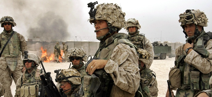 1st Division Marines outside of Fallujah, Iraq, Saturday, Oct. 30, 2004.