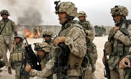 1st Division Marines outside of Fallujah, Iraq, Saturday, Oct. 30, 2004.