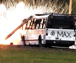 """A simulated radioactive """"dirty bomb"""" explodes on a bus which was used to test the ability of federal and local agencies to deal with a real terrorist attack."""