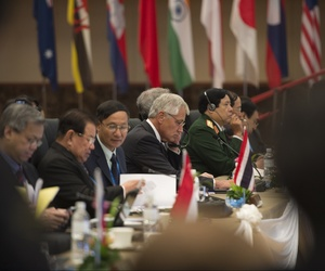 Secretary of Defense Chuck Hagel, at the ASEAN Defense Ministers Meeting - Plus, in Brunei in August 2013.