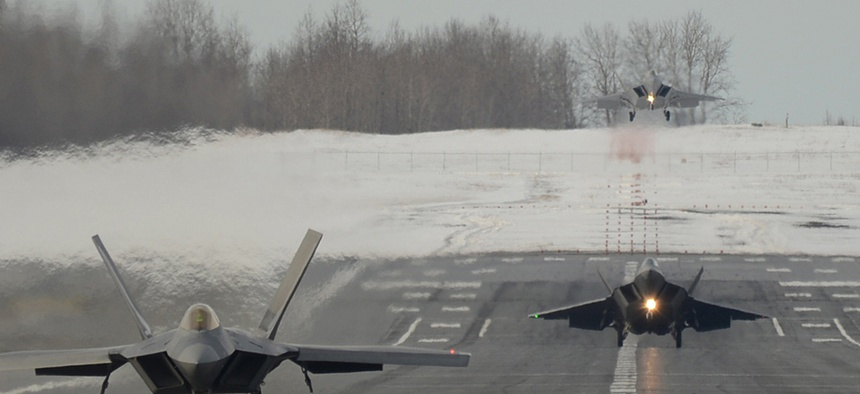 Three F-22s taking off from Elmendorf-Richardson in Alaska