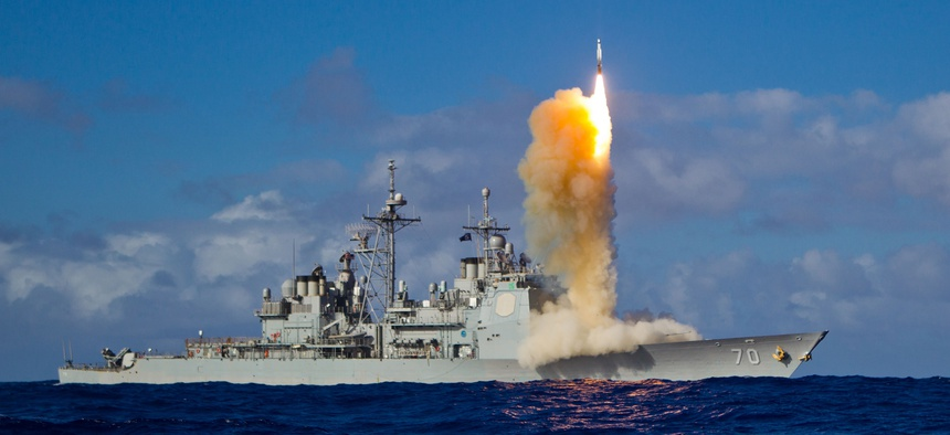 A Standard Missile 3 is tested from the USS Lake Erie