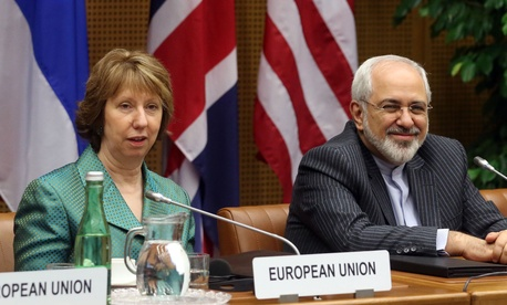 EU foreign policy chief Catherine Ashton and Iranian foreign minister Javad Zarif during a set of meetings in Austria