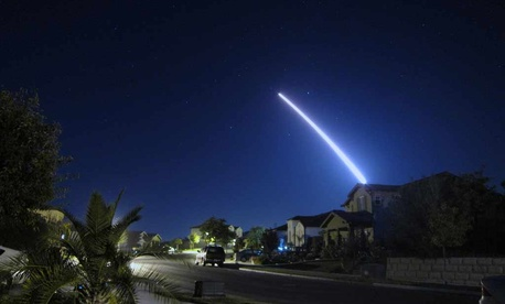 A Minuteman III ICBM is launched from Vandenberg Air Force Base, Calif.
