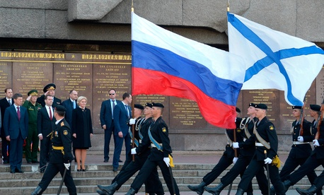 Russian Marines march in front of Russian prime minister Dmitri Medvedev in Sevastopol, Crimea