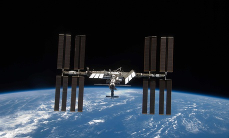 A photo of the International Space Station in orbit