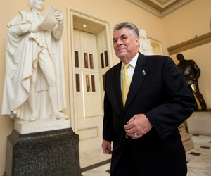 Rep. Peter King walking towards the House Chamber on Capitol Hill