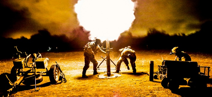 Rangers fire a 120mm mortar during a training exercise at Camp Roberts, Calif.