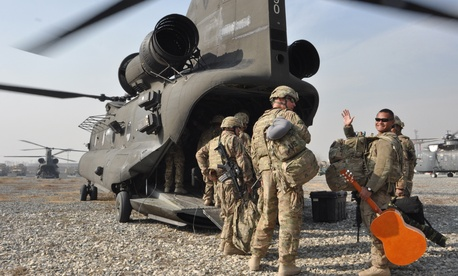 Soldiers with the Guam Army National Guard leave Camp Phoenix, Kabul