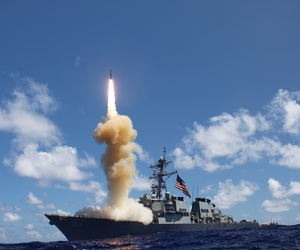 The guided-missile destroyer USS Fitzgerald launches a Standard Missile-3 during an exercise in the Pacific Ocean in October 2012. The Pentagon is slated to deploy Standard Missile 3 Block 1B interceptors in Romania by 2015.