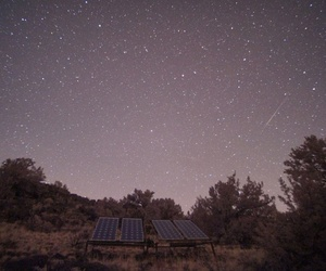 A time lapse of solar panels during the night time
