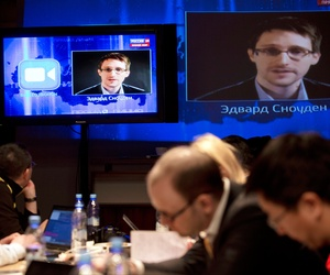 Edward Snowden during a question and answer session with Russian president Vladimir Putin