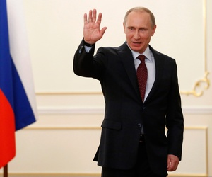 Russian president Vladimir Putin after meeting with Ben Van Beurden, the CEO of Dutch Shell