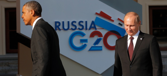 President Obama and Russian President Vladimir Putin after the 2013 G20 Summit in Russia