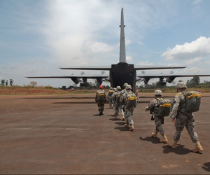 Army soldiers from the 173rd Airborne supporting the joint training exercise Central Accord in Cameroon in March 2014.