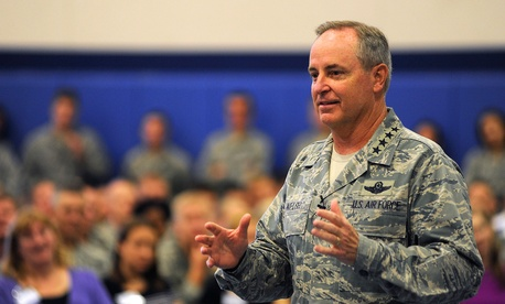 Air Force Chief of Staff Gen. Mark Welsh speaks at Schriever Air Force Base in Colorado Springs last July.