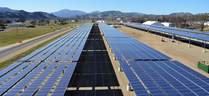 Solar panel arrays at a construction site generate power for Fort Hunter in Liggett, Calif., March 12, 2013. A 155-acre site near the Army base at Fort Huachuca, Ariz., is expected to provide enough for 25 percent of the base's needs as soon as this fall.