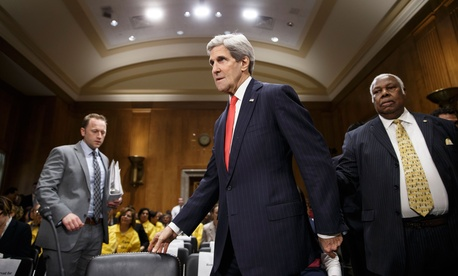 Secretary of State John Kerry preparing to testify in front of the Senate Foreign Relations Committee on April 8, 2014