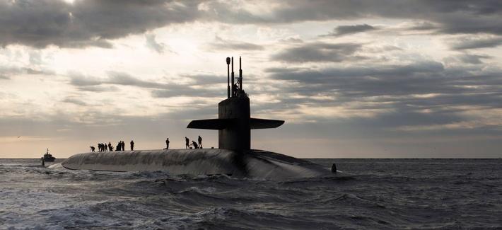 The USS Rhode Island, an Ohio-class ballistic missile submarine, returns to Naval Base Kings Bay in March 2013.