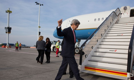 Secretary of State John Kerry leaving Brussels after a meeting, April 2, 2014.