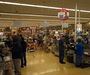 Sailors at the Naval Air Station North Island commissary shop for groceries.