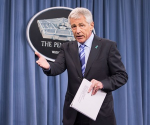Defense Secretary Chuck Hagel at a press conference on the latest report from the DOD's Sexual Assault Prevention and Response Office on May 1, 2014.