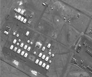 This satellite image, released by NATO, shows Russian artillery battalions at a camp near Ukraine's border on March 27th, 2014.
